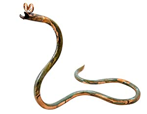 whimsical copperhead garden snake sculpture