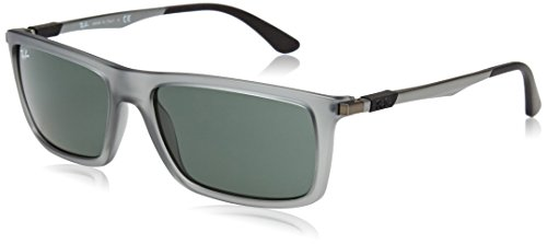 Ray-Ban Men's Injected Man Rectangular Sunglasses, Matte Transparent Grey, 59 - Sunglasses Rectangular Ray Ban