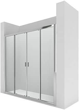 Roca AM13720012 - Mampara de ducha con dos puertas correderas y dos segmentos fijos. para instalar entre paredes o con un lateral fijo lf.: Amazon.es: Bricolaje y herramientas
