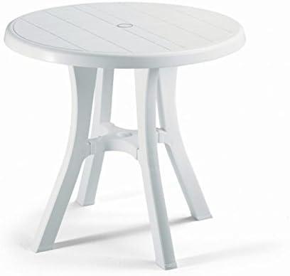 Mesa redonda para exterior blanco, Mesa Resina diámetro 80, mesa para jardín: Amazon.es: Hogar