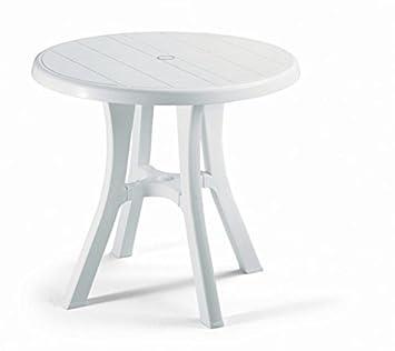 Table ronde pour extérieur Blanc, table résine Diamètre 70 ...