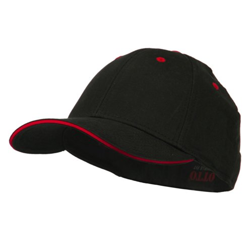 Stretchable Sandwich Bill Fitted Cap - Black Red S-M