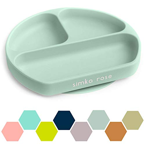 Simka Rose Suction Plate for Baby and Toddler - Divided Silicone Plate - BPA Free - Dishwasher and Microwave Safe - Premium Baby Shower Gift (Sage)