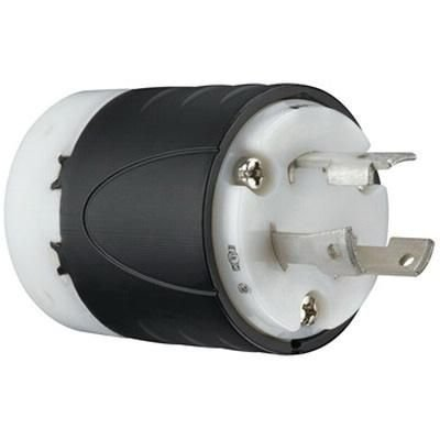 Pass & Seymour L630-P 3 Wire 2 Pole Polarized Industrial Specification Grade Locking Plug 250 Volt 3-Phase 30 Amp NEMA L6-30P Black/White ()