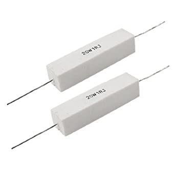 uxcell 2 x 20W 1 Ohm 5% Fixed Type Wire Wound Cement Resistors ...