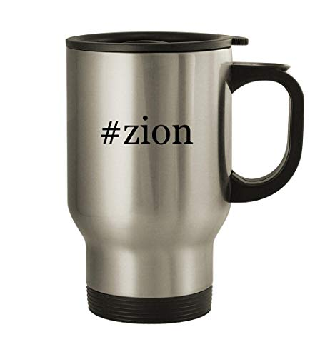 #zion - 14oz Hashtag Stainless Steel Travel Mug, Silver