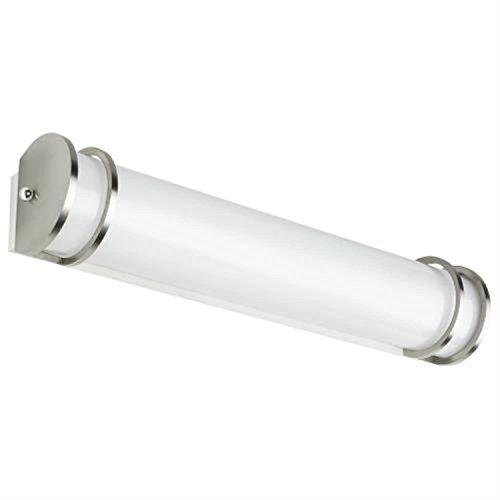 Vanity 24' Bar (Sunlite 49139-SU LED Half-Cylinder Vanity Light Fixture 24'' Dimmable Warm White, Brushed Nickel Finish)