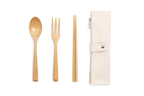 Chopsticks Travel (NUMU Wooden Cutlery Set | Travel Utensils Set | Eco Friendly Reusable Flatware | Fork, Spoon, Chopsticks w Portable Pouch (Beige) | Lightweight Stronger than Bamboo Utensils for Camping Office Lunch)