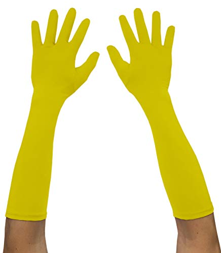 Yellow Costume Gloves (Seeksmile Adult Spandex Elbow Length Costume Gloves (Free Size,)