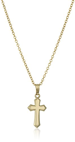 Children's 14k Gold-Filled Polished Beaded-Edge Cross Pendant Necklace, (14k Gold Beaded Necklace)