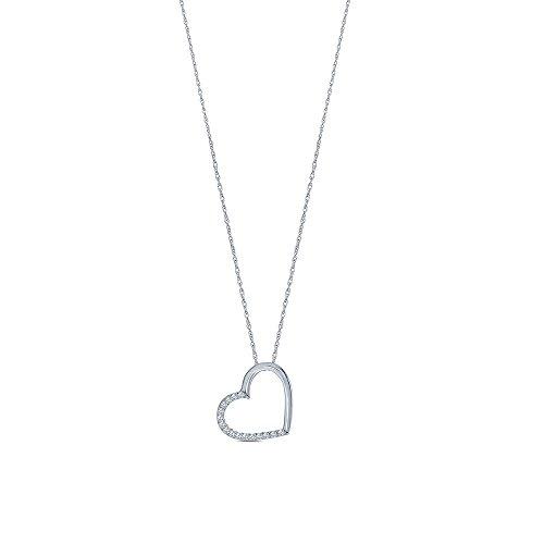 La Joya 1/10ct Round Natural Diamond 10K White Gold Diamond Tiny Charm Heart Love Pendant Necklace for Teens -