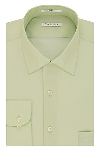 Green Herringbone Dress Shirt - Van Heusen Men's Herringbone Regular Fit Solid Spread Collar Dress Shirt, Basil, 18