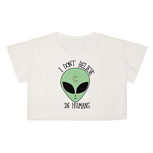 Jiayiqi Femenino Delgado De La Manera De Cultivos Tops Manga Corta Camiseta Para El Verano Extraterrestre