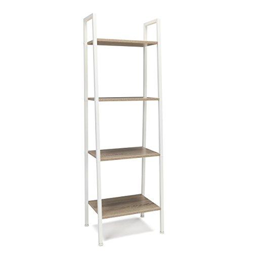 (Essentials 4-Shelf Ladder Bookcase - Modern Free Standing Bookshelf, Natural/White (ESS-1045-WHT-NAT) )