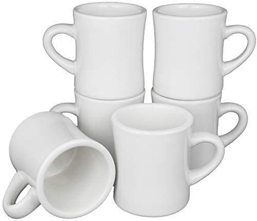 - MinWill Brands Heavy & Thick Restaurant Ceramic Diner Coffee Mugs with Pan Scraper, 10 Ounce, Pure White, 6-Pack