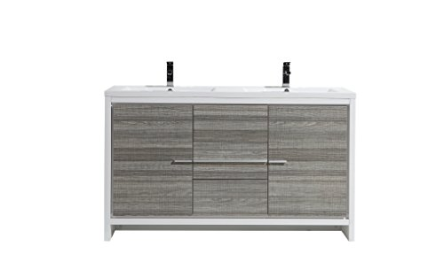 Morenobath Dolce 60 in. Free Standing Double Sink Bathroom Vanity with 2 Doors and 3 Drawers - Drawers Double Sink Vanity
