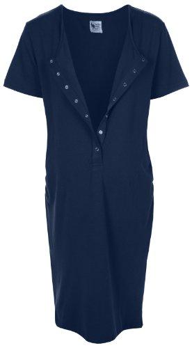 La chemise de l'accouchement bambou - Pour la grossesse, du travail, l'allaitement et la liaison - Bleu Minuit - Petit S (Avant la grossesse Taille FR 34-36)
