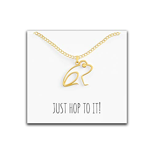 Happy Kisses Frog Necklace – Cute Pendant Gift – Sweet and Funny Message Card – Just Hop to It! – Great Gift Idea Perfect for Mom, Wife, Daughter, Friend or Girlfriend (Gold)