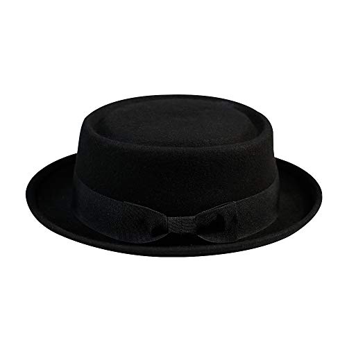 Pork Pie Hat-100% Wool Felt Men s Porkpie Hats Flat Mens Fedora Top Classic 1580492569ec
