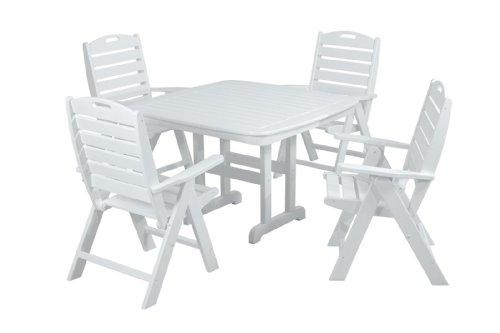 POLYWOOD PWS124-1-WH Nautical 5-Piece Dining Set, White