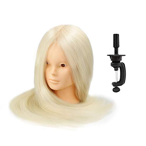 Mannequin Head Hairdressing Training 80% Human Hair 24Inch Blond with Table Clamp Stand, Head Manikin Cosmetology Makeup Practice Doll Head