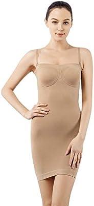 +MD Slimming Full Slips Strapless Shaperwear Full Body Shaper Seamless High Waist Tummy Control for Women Unde