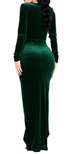 Party Velvet Sleeve Cromoncent Sexy Neck Slit V Womens Dress Blackish High Deep Green Long zHxHUvwY