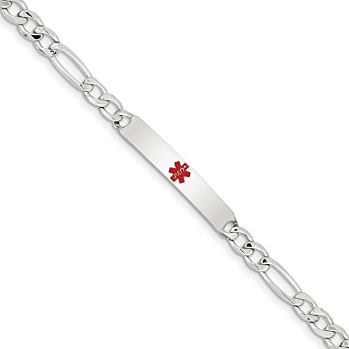 Sterling Silver Enamel Engravable Lobster Claw Closure Polished Medical Figaro Anchor Link ID Bracelet - 7.5 Inch ()