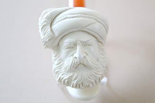 - White Turkish Meerschaum Smoking Pipe Handcrafted, Unique Design by Handmade Studio