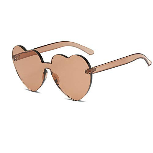 Heart Shaped Rimless Sunglasses One Pieces Transparent Candy Color Frameless Glasses Love Eyewear (BR)