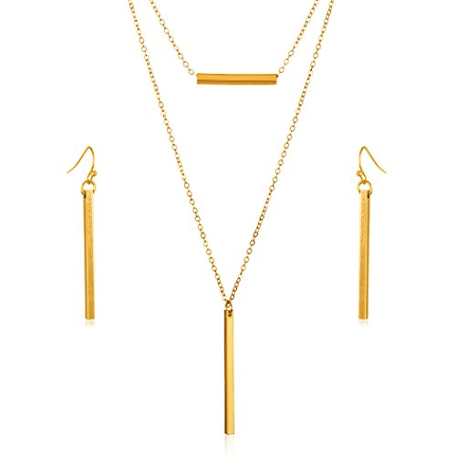 (| ELYA Multi-Strand Two Layer Gold-Tone Bar Necklace with Matching Earrings Jewelry Set)
