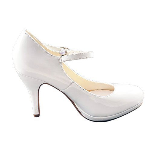 City Classified Women's Comfort Dennis Mary Jane High Heel,White Patent,8 White Flat Heel