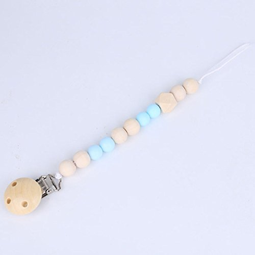 Infant Pacifier Clip Holder for Unisex Baby with Wooden Teething Beads Nipple Strap Chain Teether Toys Gift (Blue)