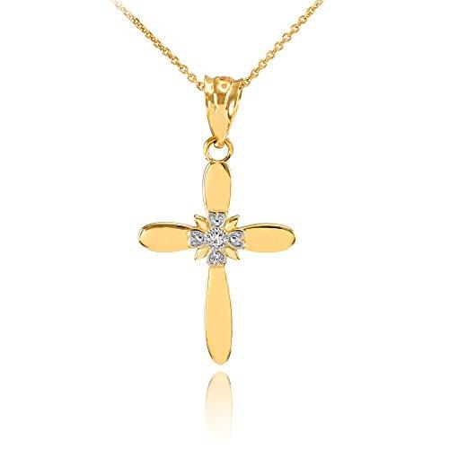 Fine 14k Yellow Gold Solitaire Diamond Flower Cross Pendant Necklace (1