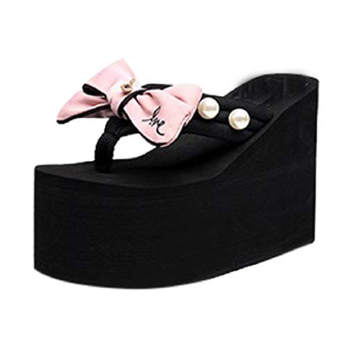 GONKOMA Women's Flip Flops Sandals Ladies Pearl Bowknot Wedges Sandals Slippers Beach Shoes Pink ()