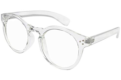 Transparent Plastic Clear Round Frame Glasses Rim 60 MM UV Blocking Eyeglasses ()