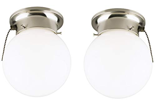 Westinghouse One-Light Flush-Mount Interior Ceiling Fixture with Pull Chain, Brushed Nickel Finish with White Glass Globe 2 Pack