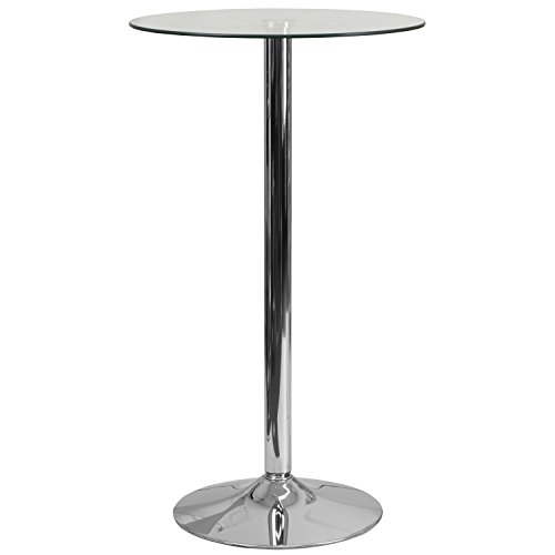 Flash Furniture 23.75'' Round Glass Table with 41.75''H Chrome Base (Height Bar Glass)