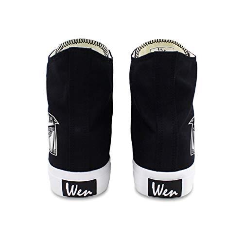 Leinwand Flache Vulkanisierte Sneakers Frühling Sommer B Exing Schwarz 46 Weiß Ferse Runde Schuhe Damenschuhe Zehen xRa05T