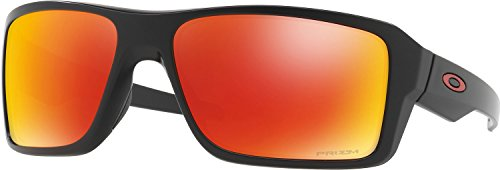 Oakley Men's Double Edge Polarized Iridium Rectangular Sunglasses, Matte Black / Prizm Ruby Polarized, 66.02 - Prizm Polarized Black