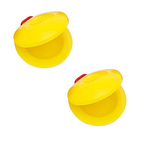 (LeSharp Learning & Education, 2Pcs 2inch Finger Castanet Percussion Musical Instrument Development Kids Toy - Yellow)