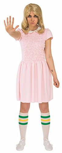 Rubies Costume Womens Standard Stranger Things Season 1 Adult Short Sleeve Eleven Dress, Pink, X-Small