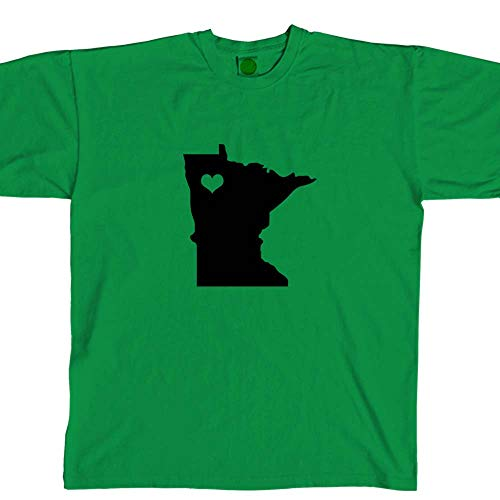 Minnesota State Love Crew Neck T Shirt Unisex Cotton tee (Shamrock Green, S) b12019 ()