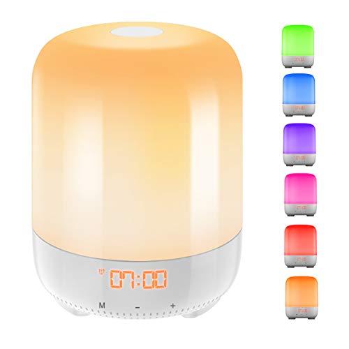 AMIR (Upgraded) Wake-Up Light, Sunrise Simulation Alarm Clock, Nature Night Light, 3 Brightness Bedside Lamp for Kids, Morning Wake-Up Alarm Light with Nature Sounds - Touch Control (Usb Clock Micro Alarm)