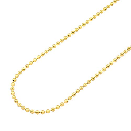 Solid 14k Yellow Gold 3mm Ball Beaded Chain Necklace 20