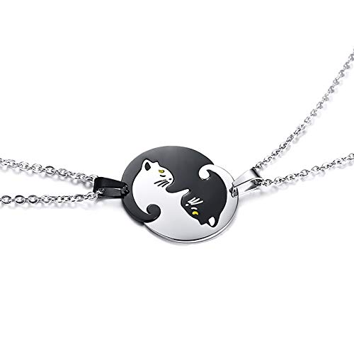 Stainless Steel Necklace Friendship Jewelry Couples Gifts Set of 2 Yin Yang Cat Pendants Necklace in Stainless Steel Interlocking Like a Puzzle