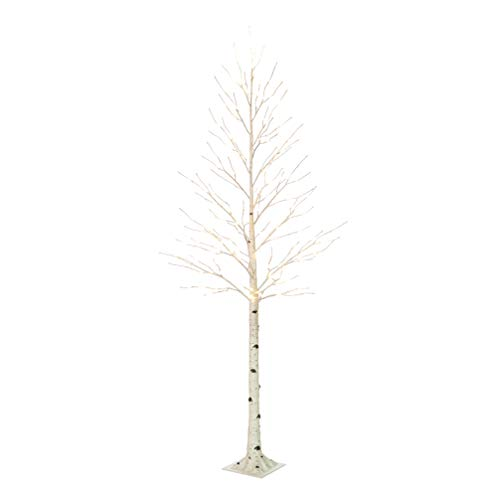 Hairui Pre Lit Birch Tree 8FT 240L for Home Decoration, White Christmas Tree with LED Lights Warm White, Lighted Artificial Tree with Partial Twinkling Feature Output 24V Safety Voltage