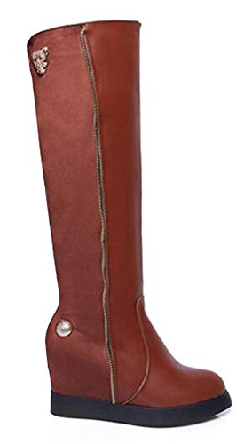 CHFSO Womens Stylish Round Toe Zipper Pull On High Wedge Heel Platform Knee High Boots Brown 9vQA1pgak7