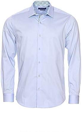Meadrine Camisa Hombre Azul Cielo Tiene Motivos de oposición Plaza Slim fit: Amazon.es: Ropa y accesorios