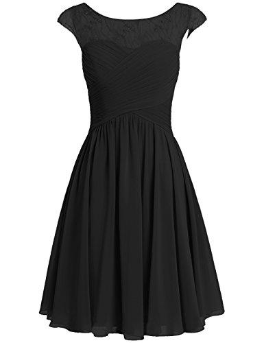 Party Bridesmaid Cdress Wedding Appliques Gowns Women's Black Dresses Chiffon Short Formal pwq0wRZ